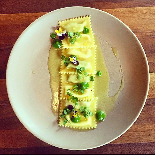 Flour and Water Asparagus and Holy Moly Doppio Raviolini with preserved Meyer Lemon and Whey (Photo: Flour and Water)