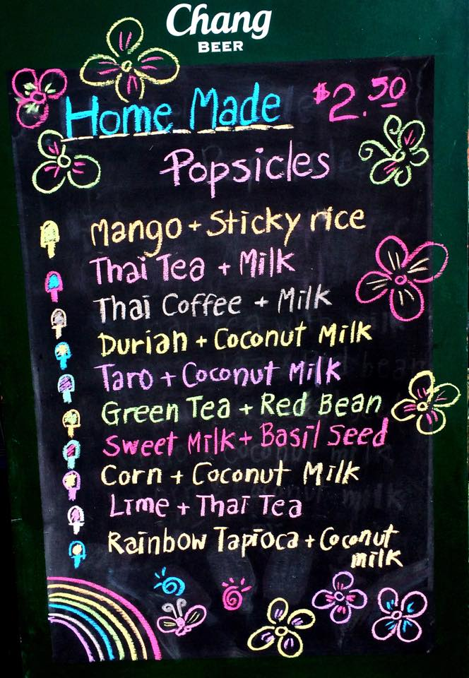 Sai Thai Kitchen Popsicle Menu